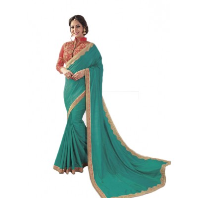 Aarchi Tex Sea Green Fancy Cotton Saree
