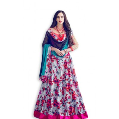 Aarchi Tex Multi Colour Banglori Silk Digital printed Semi-Stitched Lehenga Choli
