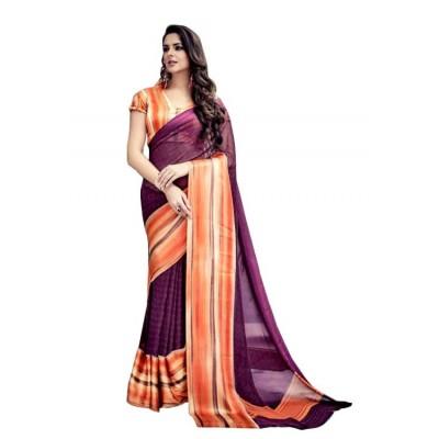 Aarchi Tex Purple Satin Patta Printed Saree