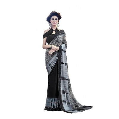 Aarchi Tex Black Satin Patta Printed Saree