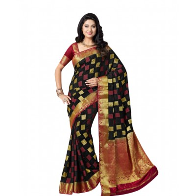 Aarchi Tex Black & Gold Nylon Saree