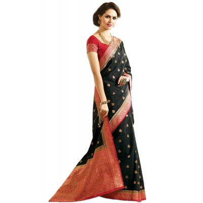 Aarchi Tex Black Bangalori Silk Zari Worked Saree