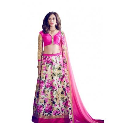 Aarchi Tex Rose Banglori Silk Digital printed Semi-Stitched Lehenga Choli
