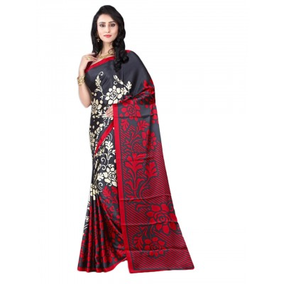 Aarchi Tex Black & Red Japanese Crepe Printed Saree