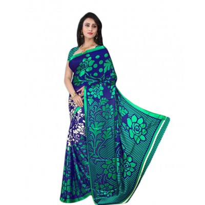 Aarchi Tex Green and Blue Japanese Crepe Printed Saree