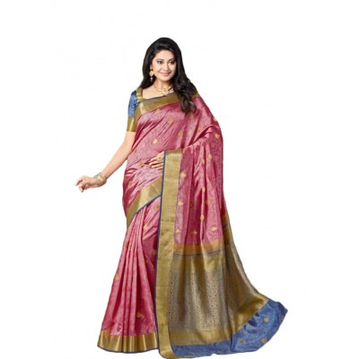 Aarchi Tex Pink shot Nylon Saree