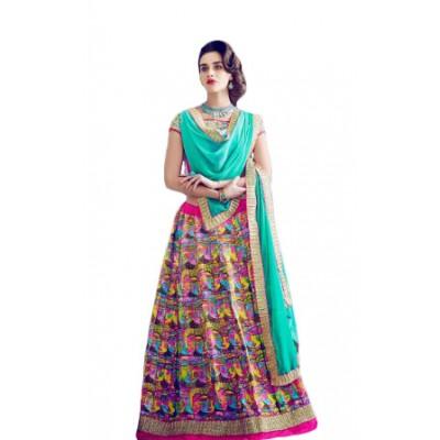 Aarchi Tex Multi Colour Banglori Silk Digital printed Semi-Stitched Lehenga Choli