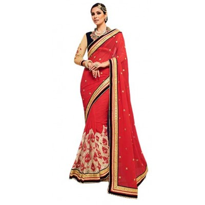 Aarchi Tex Red Fancy Cotton Printed Saree
