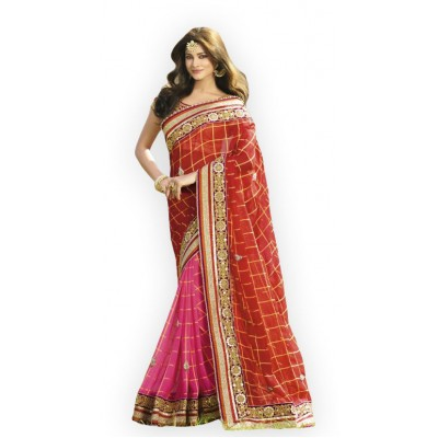 Aarchi Tex Red Georgette Embroidered Saree