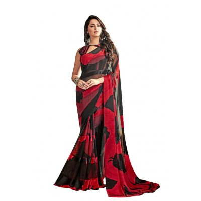 Aarchi Tex Red & Black Satin Patta Printed saree