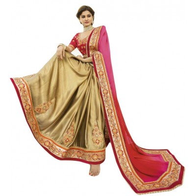 Aarchi Tex Pink Georgette Embroidered Saree