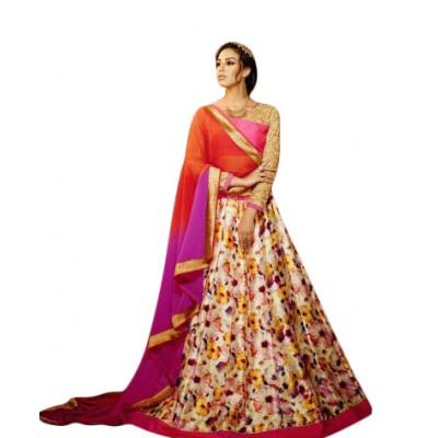Aarchi Tex Pink and Orange Banglori Silk Digital printed Semi-Stitched Lehenga Choli