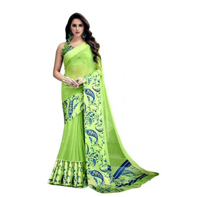 Aarchi Tex Green Satin Patta Printed Saree