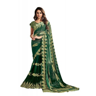 Aarchi Tex Green & Yellow Satin Patta Printed Saree