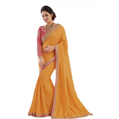 Aarchi Tex Orange Fancy Cotton Saree