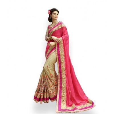 Aarchi Tex Magenta Georgette & Net Embroidered Saree