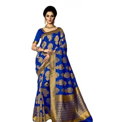 Aarchi Tex Royal blue Kamakshi Silk Printed Saree