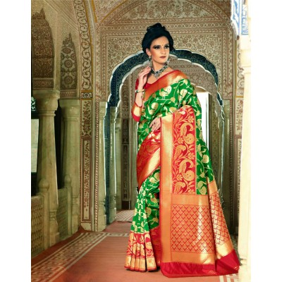 Aarchi Tex Green Silk Saree