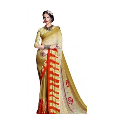 Aarchi Tex Multi Colour Satin Patta Hand Printed Saree