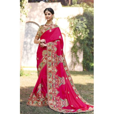 Aarchi Tex Pink Fancy Hand Worked Designer Saree