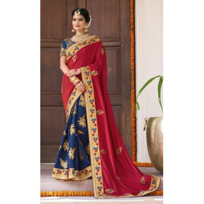 Aarchi Tex Red & Blue Fancy Hand Worked Designer Saree