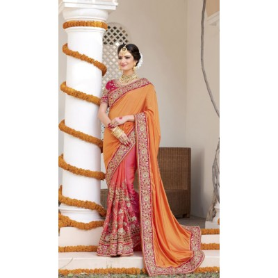 Aarchi Tex Orange Fancy Hand Worked Designer Saree