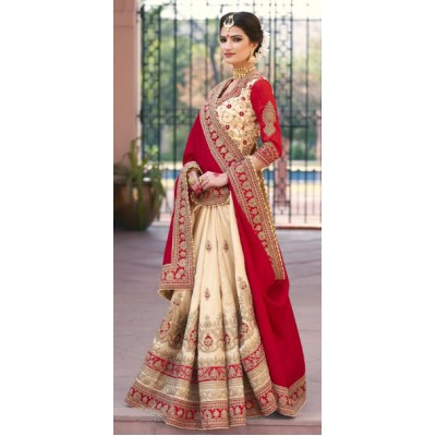 Ugrowth Collection Red Fancy Hand Worked Designer Saree