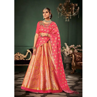 Aarchi Tex Peach Banarasi Silk Semi-Stitched Lehenga Choli