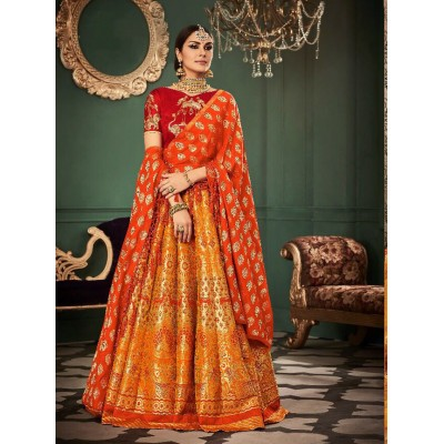 Aarchi Tex Multi Colour Banarasi Silk Semi-Stitched Lehenga Choli