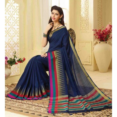Aarchi Tex Navy Blue Banglori Silk Temple designed Saree