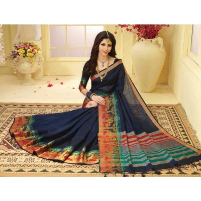 Aarchi Tex Navy Blue Banglori Silk Zari Worked Saree