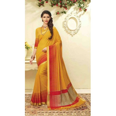 Aarchi Tex Yellow Banglori Silk Temple designed Saree