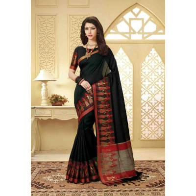 Aarchi Tex Black Banglori Silk Embroidered Saree