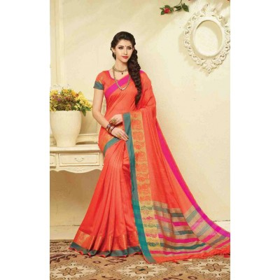 Aarchi Tex Orange Banglori Silk Ganga-Jamuna bordered Saree