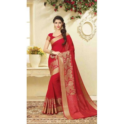 Aarchi Tex Red Banglori Silk Zari Worked Saree