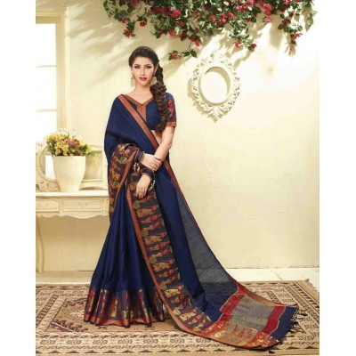 Aarchi Tex Navy Blue Banglori Silk Embroidered Saree