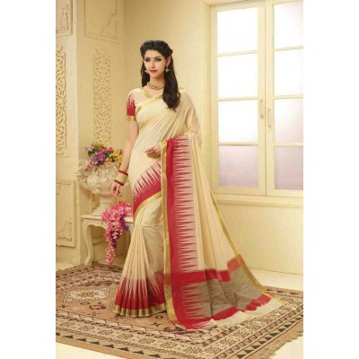 Aarchi Tex Cream Banglori Silk Temple designed Saree