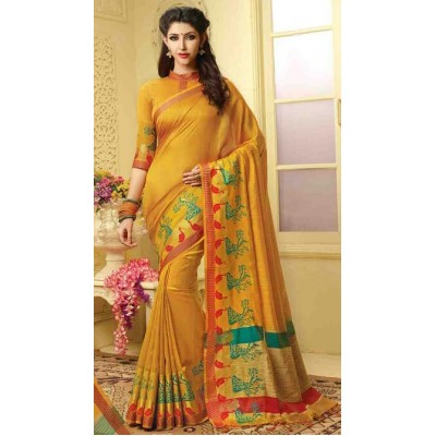 Aarchi Tex Yellow Banglori Silk Embroidered Saree