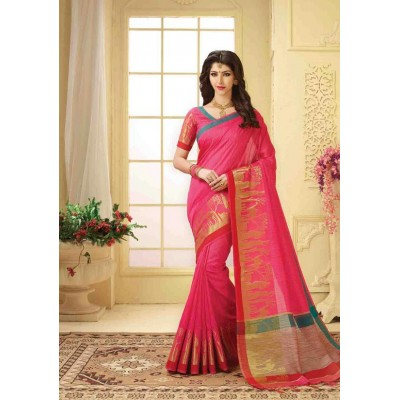Aarchi Tex Pink Banglori Silk Embroidered Saree