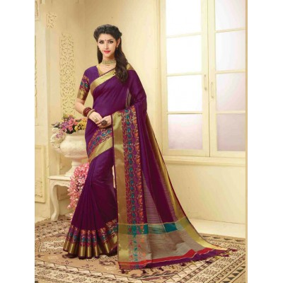 Aarchi Tex Purple Banglori Silk Embroidered Saree