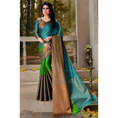 Aarchi Tex Blue Cotton Saree