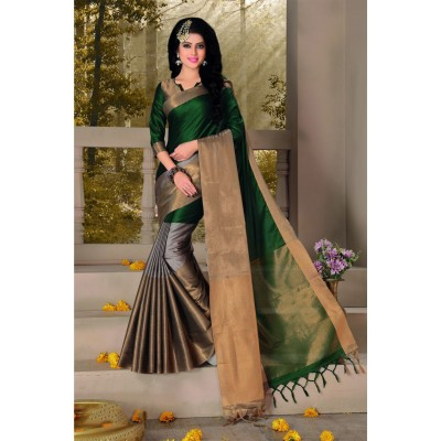 Aarchi Tex Dark Green Cotton Saree