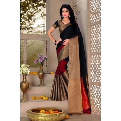 Aarchi Tex Black Cotton Saree