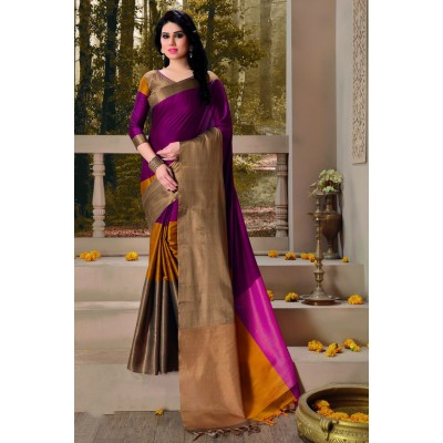 Aarchi Tex Purple Cotton Saree