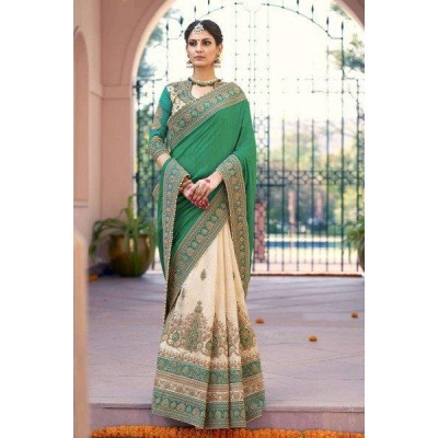Aarchi Tex Green Fancy Hand Worked Designer Saree