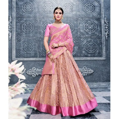 Aarchi Tex Pink Banarasi Silk Semi-Stitched Lehenga Choli