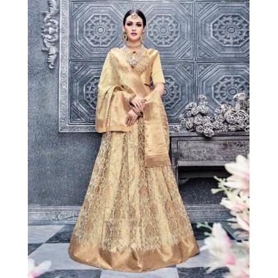 Aarchi Tex Gold Banglori Silk Semi-Stitched Lehenga Choli