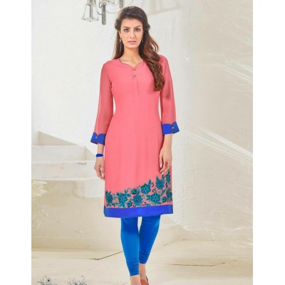 Krishna Pink Pure Georgette Embroidery with Stone worked Straight Kurta