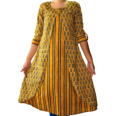 The First Spring Yellow Cambric Cotton Block Printed A-line Kurta