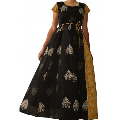 The First Spring Black and Yellow Cambric Cotton Printed Anarkali Kurta